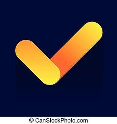Yes icon on blue background. Vector illustration. logo. Symbols. web