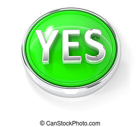 Yes icon on glossy green round button
