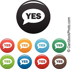 Yes icons set vector simple - Yes icons set. Vector simple...