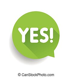 Yes label vector sign speech bubble