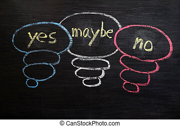 Yes, maybe and no symbols drawn in chalk on a blackboard