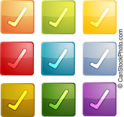 Yes navigation icon glossy button, square shape, multiple...