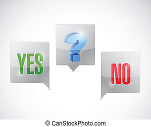 yes, no and maybe option clouds illustration