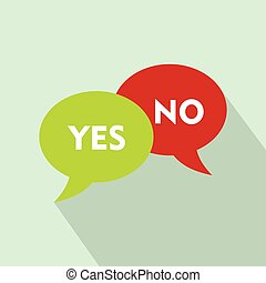 Yes No bubbles icon, flat style