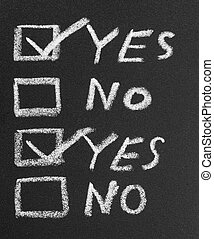 Yes No check box by chalk