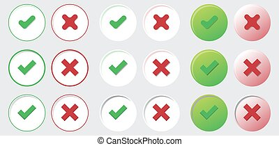 yes no check choice mark button vector web element isolated vote icon set