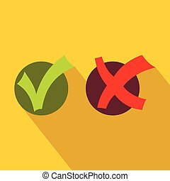 Yes No check marks icon, flat style