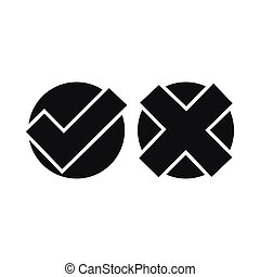 Yes No check marks icon, simple style
