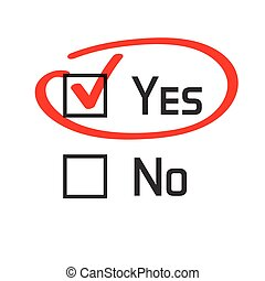 Yes no checked with red marker line