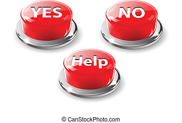 Yes, no, help web glossy buttons