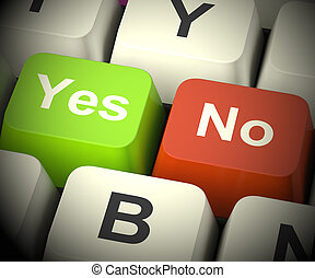 Yes No Keys Representing Uncertainty And Decisions 3d Rendering
