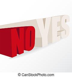 """""""yes"""", """"no"""", konceptualny, słówko, decyzja, ilustracja"""