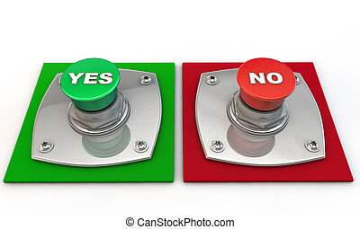 Yes no maybe Button over white Background