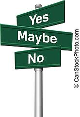 Yes No Maybe choice three signs