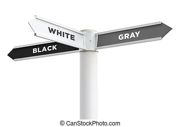 Black White Gray Crossroads Sign Isolated on White Background