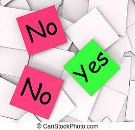 Yes No Post-It Notes Mean Answers Affirmative Or Negative -...