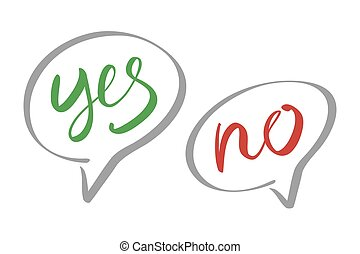 Yes No speech bubbles vector lettering art