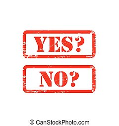 YES NO stamp sign text red.