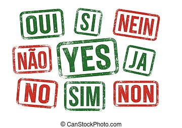 Yes No stamps in multilingual
