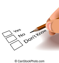 yes no - Yes no don\'t know tick boxes.