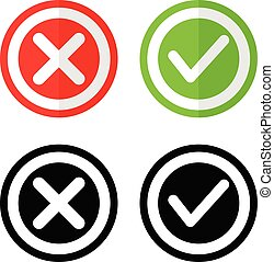 Yes or no button icon set vote agree and approve or disagree symbol illustrationWeb