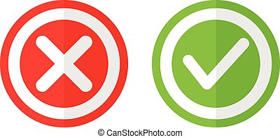 Yes or no button icon set vote agree or disagree symbol illustration