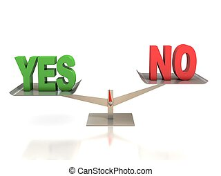 yes or no choice 3d concept illustration