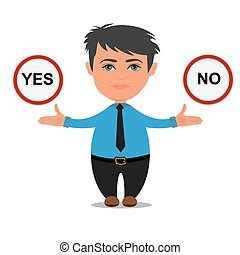 yes or no choices, business concept, vector illustration