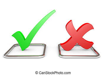 YES or NO. Concept. - 3D green checkmark and red cross in...