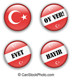 yes or no vote badge button for turkish referendum election
