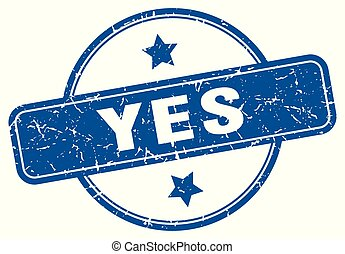 yes round grunge isolated stamp