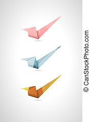 Set of three origami style accept signs with stylish polygon pattern
