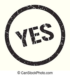 yes stamp - yes black round stamp