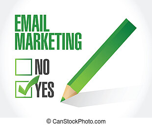 yes to email marketing illustration design over a white...