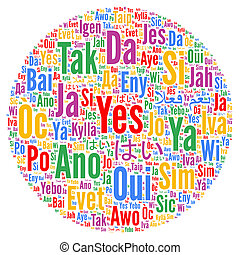 Yes word cloud in different languages
