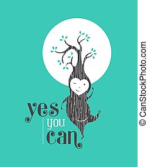Yes you can motivation quote greeting card elf