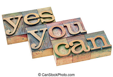 Yes you can - motivational phrase in wood type