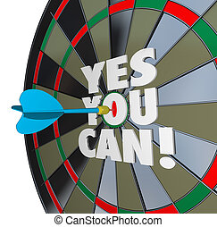 Yes You Can Words Dartboard Successful Win