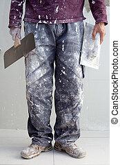yeso, construcción, sucio, hombre, pantalones