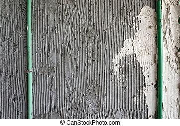 yeso, pegamento, pared, peine, mortero, superficie, ...