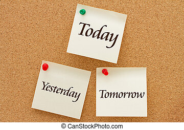 Yesterday, Today and Tomorrow, Three yellow sticky notes on ...
