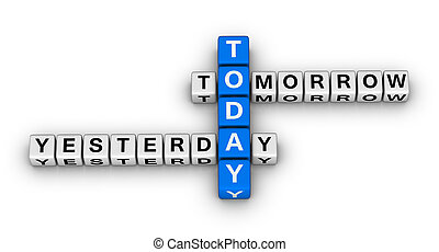 yesterday, today, tomorrow 3d crossword puzzle (time concept)