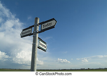 Three-way sign pointing to yesterday, today and tomorrow