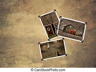 Snapshots of old barns on textured background.