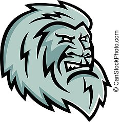 yeti-head-side-MASCOT - Mascot icon illustration of head of...