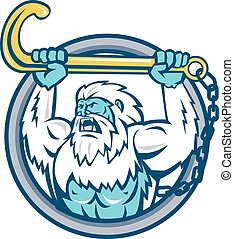yeti-holding-up-j-hook-CIRC - Retro style illustration of a...