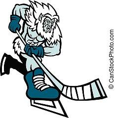 Yeti Ice Hockey Player Mascot