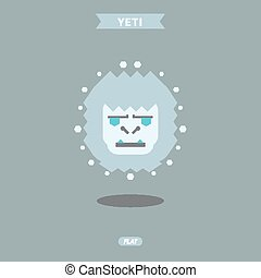 Yeti, vector illustration graphic, head, flat logo