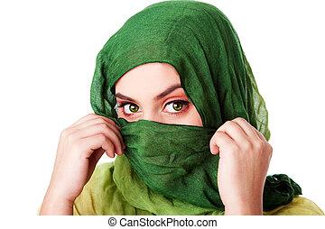 yeux, écharpe verte, figure