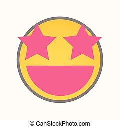yeux, étoile, smiley, -, vecteur, dessin animé